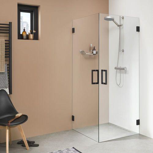 Porte de douche pivotante droite pour angle Sealskin Get Wet I AM noir mat 100cm 8mm verre securit transparent anti-calcaire