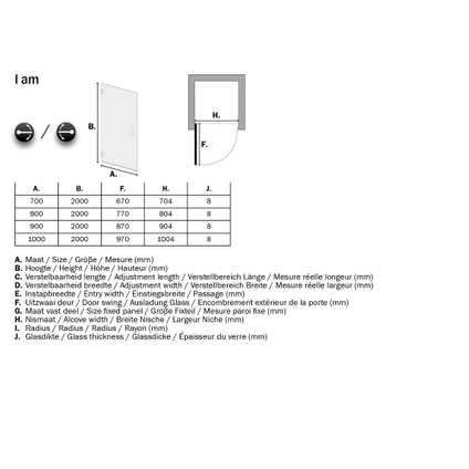 Sealskin Get Wet I AM draaideur voor plaatsing tussen 2 muren 70cm mat zwart | 8mm helder veiligheidsglas + antikalk