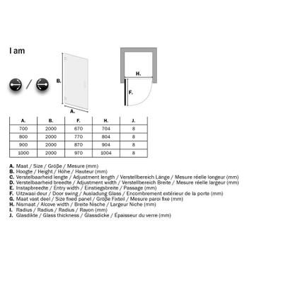 Sealskin Get Wet I AM draaideur voor plaatsing tussen 2 muren 90cm mat zwart   8mm helder veiligheidsglas + antikalk