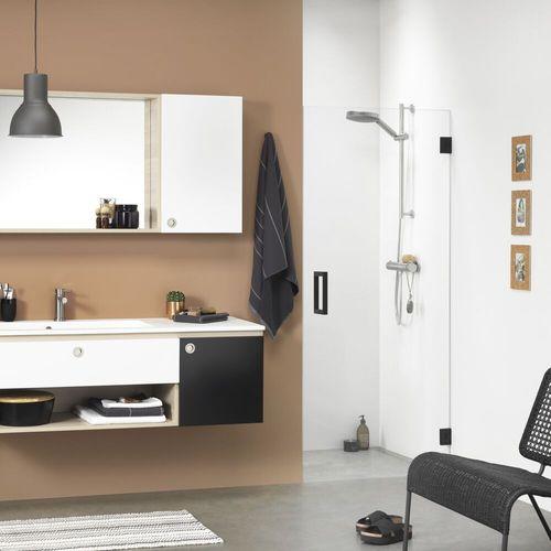 Porte de douche pivotante pour niche Sealskin Get Wet I AM noir mat 100cm 8mm verre securit transparent anti-calcaire
