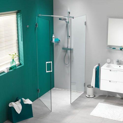 Porte de douche pivotante + paroi latérale Sealskin Get Wet I AM chrome 100x100cm 8mm verre securit transparent anti-calcaire