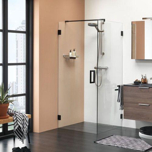Porte de douche pivotante + paroi latérale Sealskin Get Wet I AM noir mat 100x100cm 8mm verre securit transparent anti-calcaire