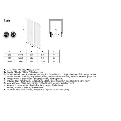 Sealskin Get Wet I AM draaideur met zijwand 100x100cm mat zwart | 8mm helder glas + antikalk