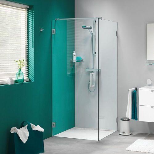 Porte de douche pivotante + paroi latérale Sealskin Get Wet I AM effet inox 100x100cm 8mm verre securit transparent anti-calcaire