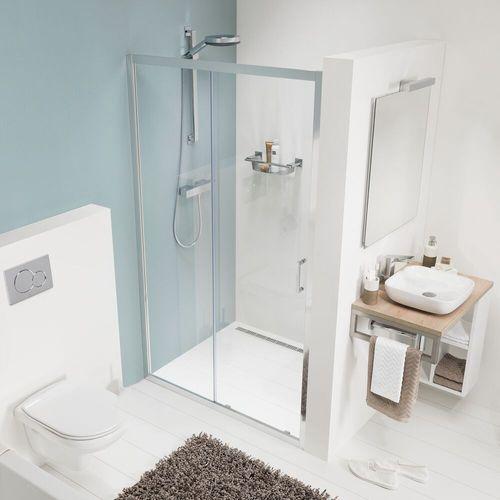 Porte de douche coulissante pour niche Sealskin Get Wet Compact aluminium argenté poli 120cm 6mm verre sécurit transparent