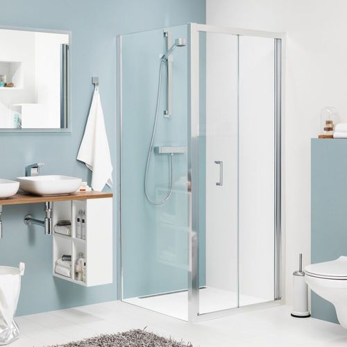 Porte de douche pliante + paroi fixe Sealskin Get Wet Compact aluminium argenté poli 90x90cm 6mm verre sécurit transparent