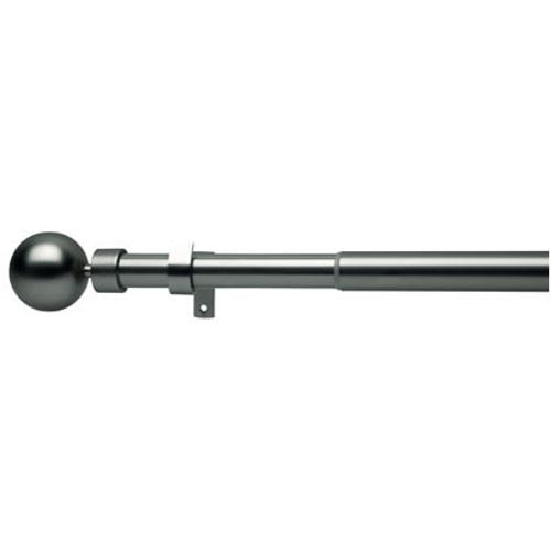 Kit verstelbare gordijnroede en eindknoppen kogel metaal geborsteld nikkel 200 à 360 cm