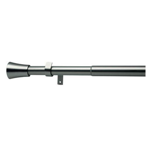 Kit verstelbare gordijnroede en eindknoppen metaal geborsteld nikkel 200 à 360 cm