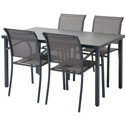 Table de jardin Central Park Almunda anthracite aluminium 145x80cm