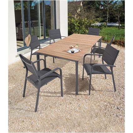 Table de jardin Central Park 'Gabrio' eucalyptus brun 208,5 x 74 cm