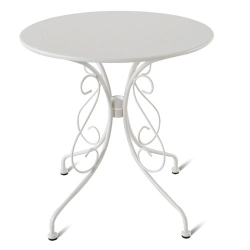 Table de bistrot Central Park Lucille blanc acier Ø70cm