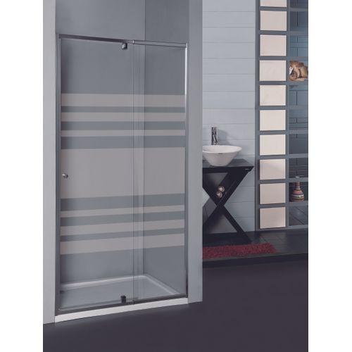 Porte de douche pivotante Allibert Priva 78-91x190cm lignes horizontales