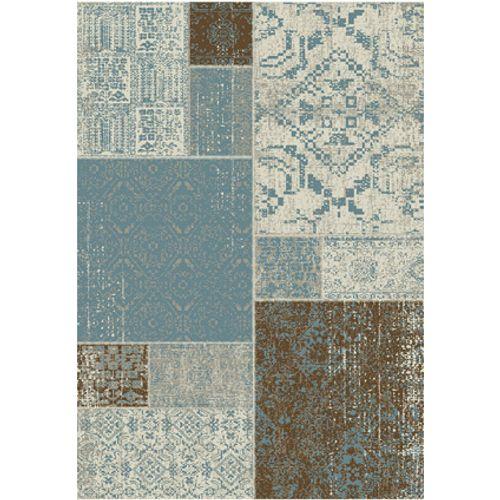 Vloerkleed Fajah vintage patchwork blauw / bruin 160 x 230 cm