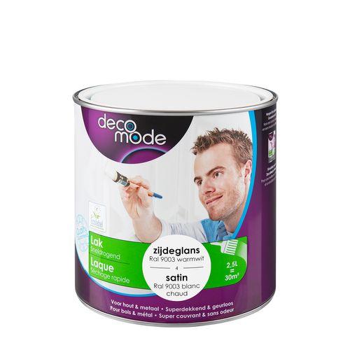 Laque Decomode 'Séchage rapide' blanc chaud satin 2,5L