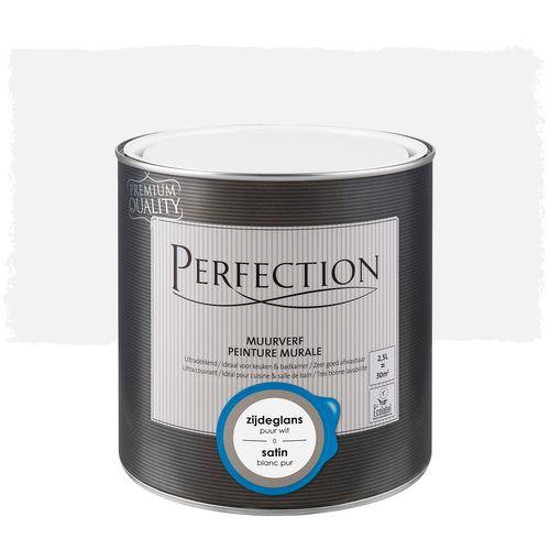Peinture murale Perfection ultra couvrant satin blanc pur 2,5L