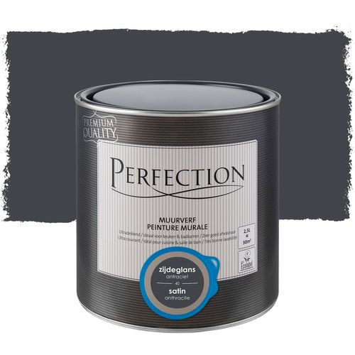 Peinture murale Perfection ultra couvrant satin anthracite 2,5L