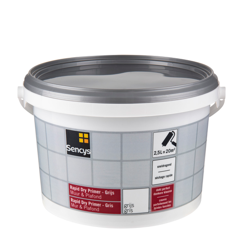 Sencys primer muur en plafond 'Rapid Dry' grijs 2,5 L
