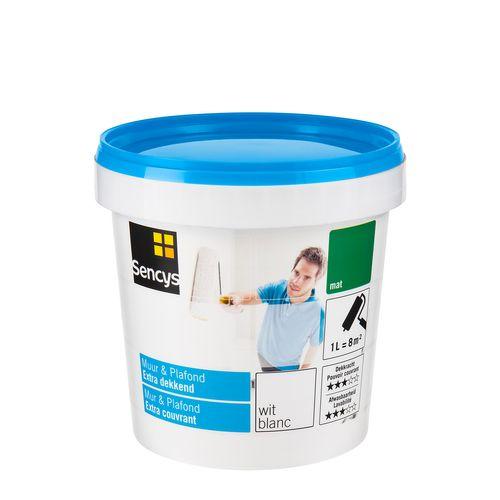 Sencys latex verf 'Muur & Plafond Extra Dekkend' wit mat 1L