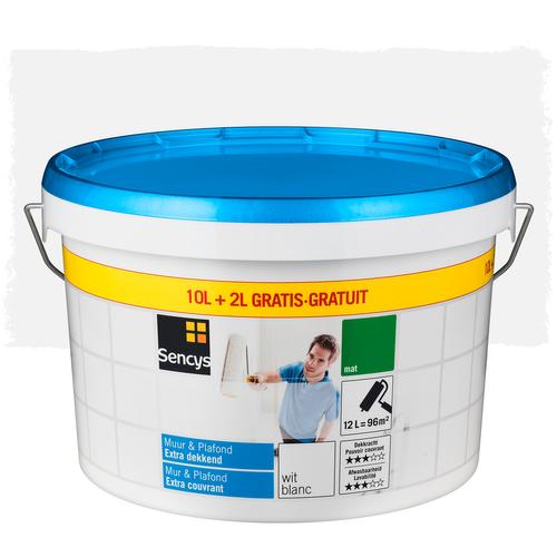 Sencys muurverf en plafond 'Extradekkend' wit 12L