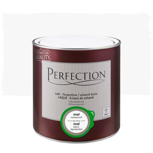 Laque Perfection Ultra couvrant mat solvant blanc signalisation RAL 9016 2,5L