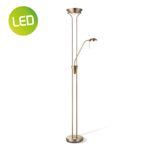 Lampadaire Home Sweet Home 'Uplight' laiton 8 W + 3 W