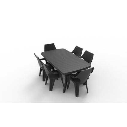Table de jardin Allibert 'Baltimore' résine graphite 177 x 100 cm