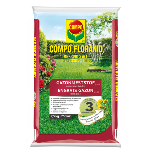 Compo gazonmeststof Floranid plus onkruidbestrijder 7,5kg/250m²