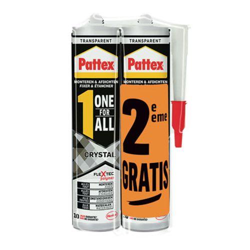 Pattex montagelijm 'One for All duo Crystal' 290 + 90gr -2 stuks
