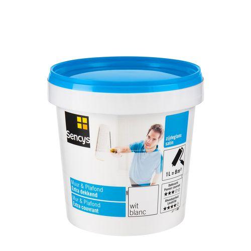 Peinture latex Sencys 'Mur & Plafond Extra Couvrant' blanc satin 1L