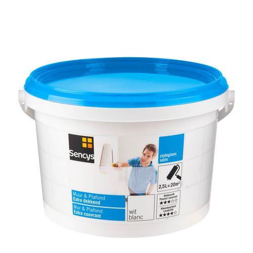 Peinture latex Sencys 'Mur & Plafond Extra Couvrant' blanc satin 2,5L