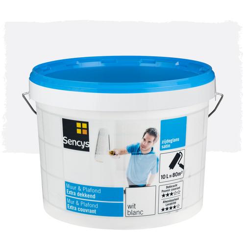Sencys latex verf 'Muur & Plafond Extra Dekkend' wit satijn 10L