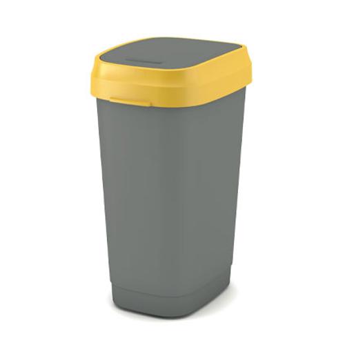 Poubelle Kis 'Dual Swing Eco' jaune et gris 50 L