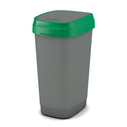 Poubelle Kis 'Dual Swing Eco' vert et gris 50 L
