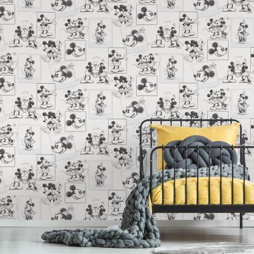 Papier peint Disney Mickey and Minnie Croquis noir blanc