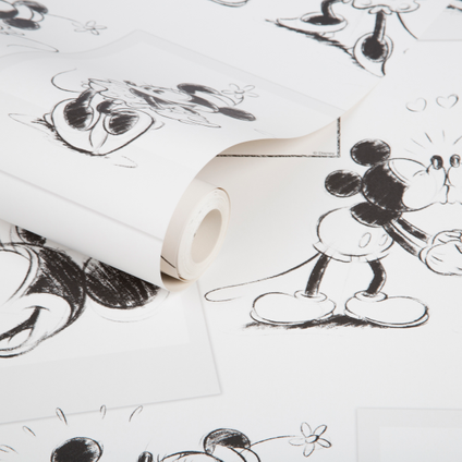 Disney Papierbehang Mickey and Minnie Sketch zwart wit