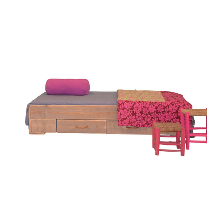 Wood4You bed steigerhout met 2 lades montagepakket
