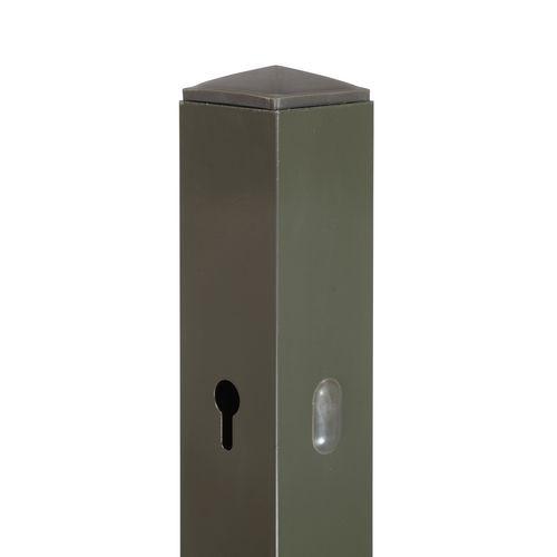 Schermpaal aluminium grijs 6x6x190cm