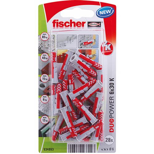 Fischer universeelplug 'Duopower' 30 mm x 6 mm - 28 stuks