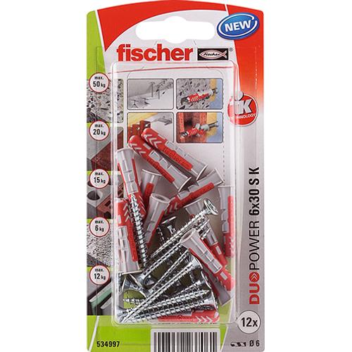 Fischer universeelplug 'Duopower' met schroef 30 x 6 mm - 12 stuks