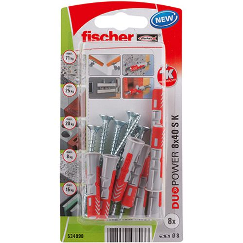 Fischer nylon plug DuoPower universeelplug 8x40 + schroef 8st.