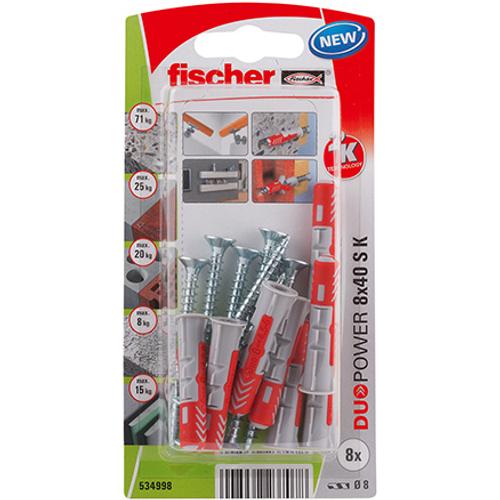 Fischer universeelplug 'Duopower' met schroef 40 x 8 mm - 8 stuks