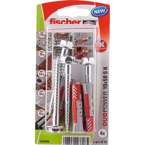 Fischer universeelplug 'Duopower' met schroef 50 x 10 mm - 4 stuks