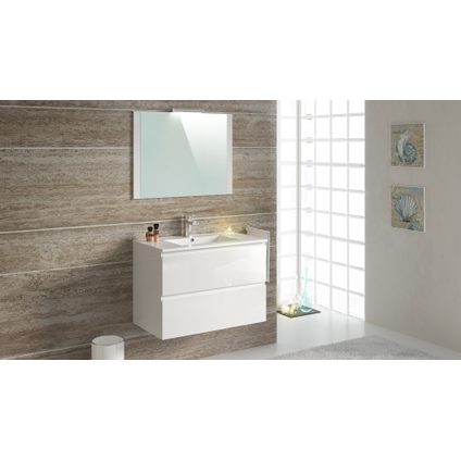 Meuble de salle de Bains T-Bath Milenio mélaminé blanc brillant 80cm
