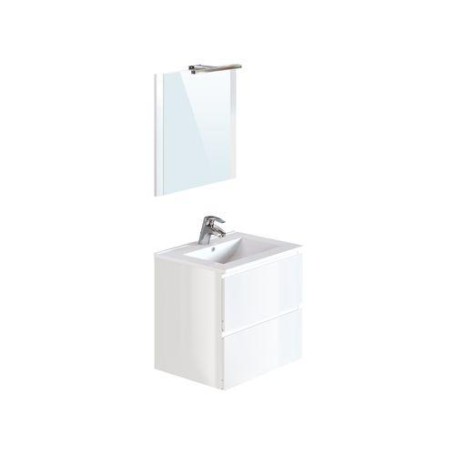Meuble de salle de Bains T-Bath Milenio mélaminé blanc brillant 60cm
