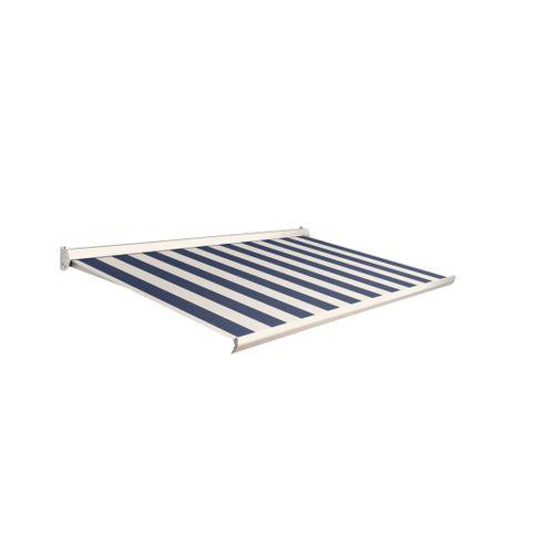 Domasol zonnescherm manueel Factor 10-C blauw/witte strepen 350x250cm