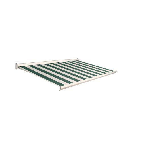 Domasol zonnescherm manueel Factor 10-C groen/witte strepen 350x300cm