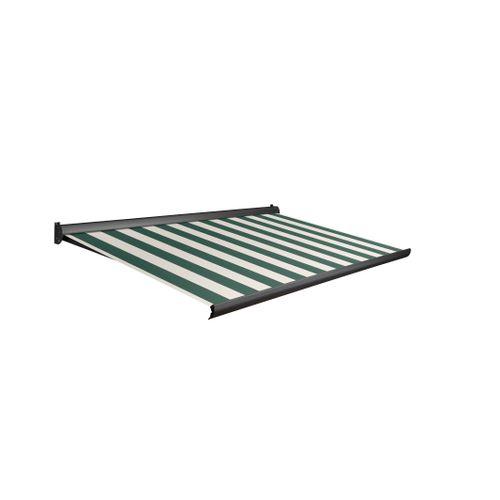 Domasol zonnescherm manueel Factor 10-A groen/witte strepen 450x250cm