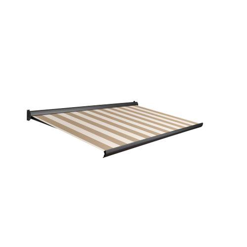 Domasol zonnescherm manueel Factor 10-A bruin/witte strepen 450x300cm