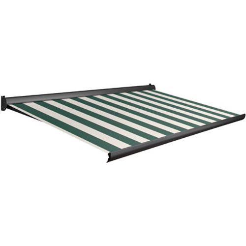 Tente solaire électrique Domasol 'Factor 10-A' vert/blanc à rayures450 x 300 cm