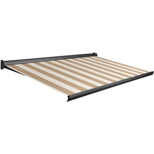 Tente solaire électrique Domasol 'Factor 10-A' brun/blanc à rayures 500 x 300 cm